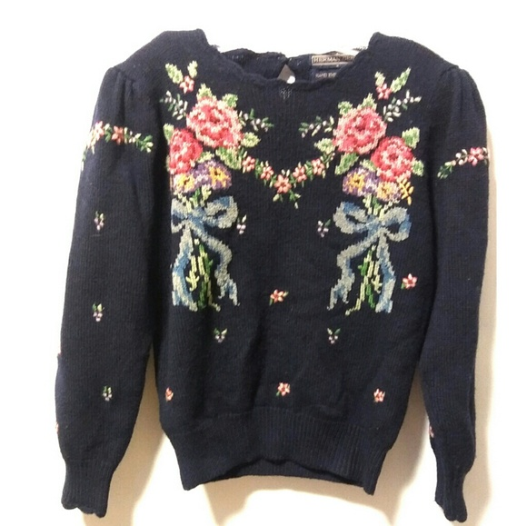 Vintage Sweaters - Vintage 80's retro floral sweater